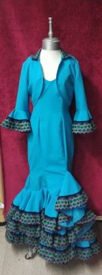 Vestido Azul Turquesa Con Chaqueta